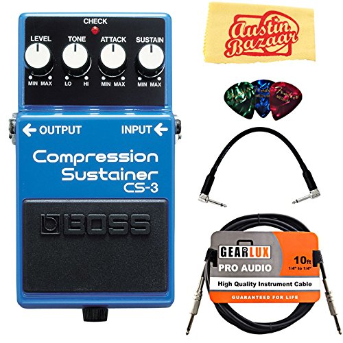 Boss CS-3 Compressor/Sustainer Bundle with Instrument Cable, Patch Cable, Picks, and Austin Bazaar Polishing Cloth by BOSS