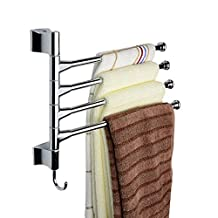 Jack-Store Wall-Mounted Stainless Steel Bathroom Kitchen Towel Rack Holder With Hook (4 Swivel Bars)