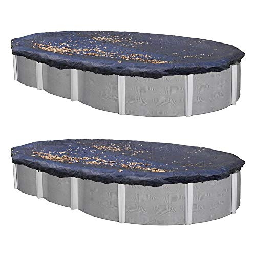 MRT SUPPLY 18 x 38 Ft. Oval Above Ground Winter Swimming Pool Cover, Blue (2 Pack) with - 38' Oval Above Ground