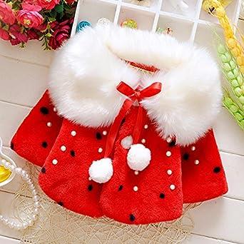 JIANLANPTT Winter Baby Girls Faux Fur Fleece Coat Pearls Dots Princess Outerwear