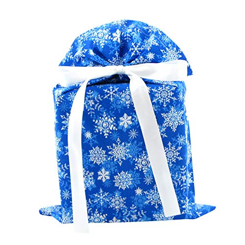 Snowflakes on Blue Reusable Holiday Gift Bag (Standard 10 Inches Wide by 15 Inches High)