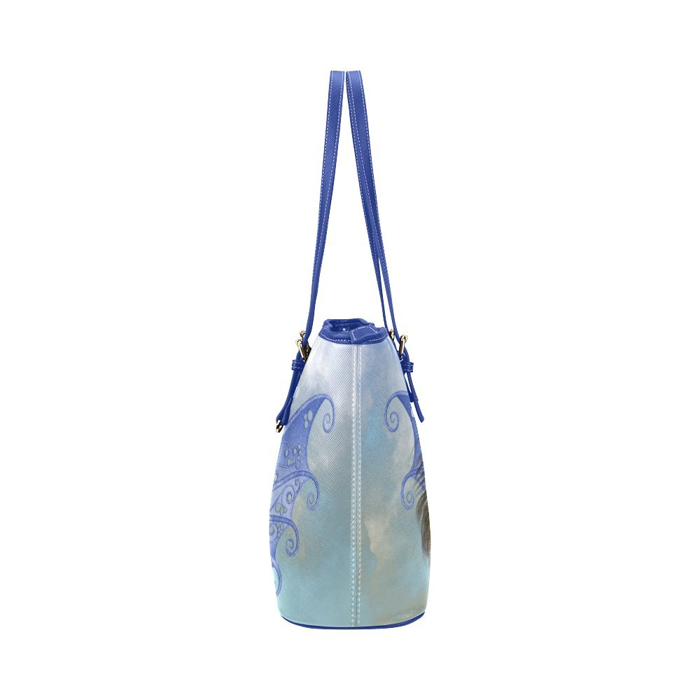 6637ce3667e2 InterestPrint Custom Fairy Bleu Flight Leather Tote Bag Small ...