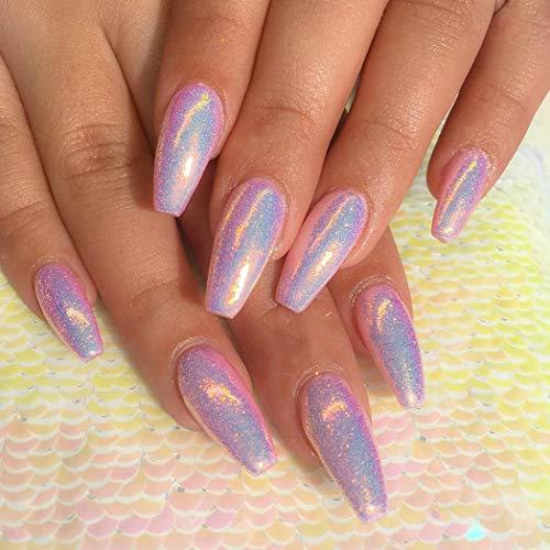 Prettydiva Mermaid Chrome Nail Powder Neon Iridescent Unicorn Coffin Nail Powder Manicure