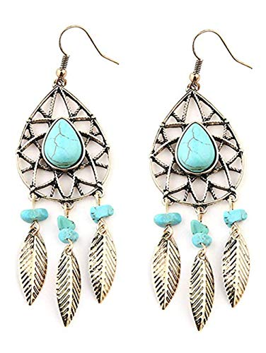 Bohemian Artificial Vintage Faux Turquoise Leaves Mesh Boho Hook Feather Earrings for Women ()