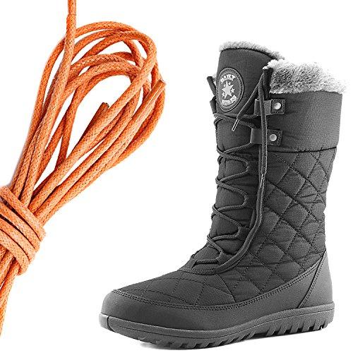 Dailyshoes Donna Comfort Punta Rotonda Metà Polpaccio Caviglia Alta Eskimo Inverno Neve Stivali Di Pelliccia, Arancione Nero