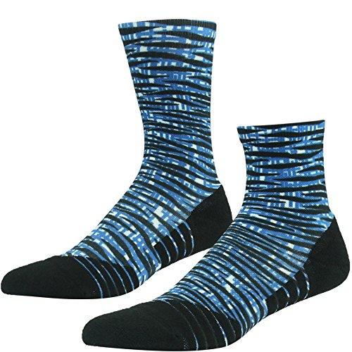 HUSO Men's Women's Unisex Striped Crew Socks Best For Running, Athletic Sports, Crossfit, Flight Travel,2 Pairs(Blue,L/XL)
