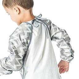 Bumkins Waterproof Long Sleeved Art Smock, Gray Chevron (3-5 Years)