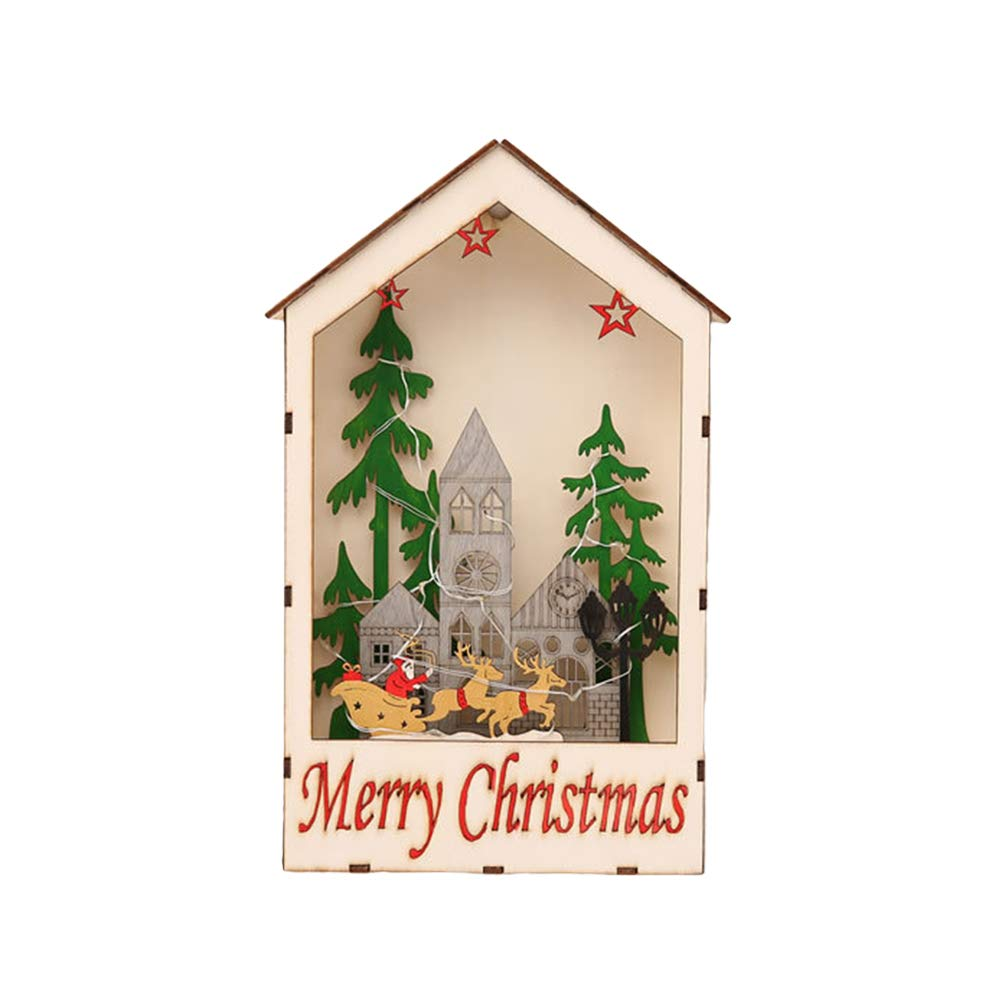 VORCOOL Chrsitmas Decorations Wooden Window Shape House Tree Elk Battery Led Light Hanging Ornaments for Christmas Festival Party Props Bedroom Gift (City Pattern)