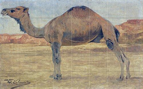 Landscape africa dunes camel by Wilhelm Kuhnert Spielende Tile Mural Kitchen Bathroom Wall Backsplash Behind Stove Range Sink Splashback 8x5 8'' Ceramic, Matte by FlekmanArt