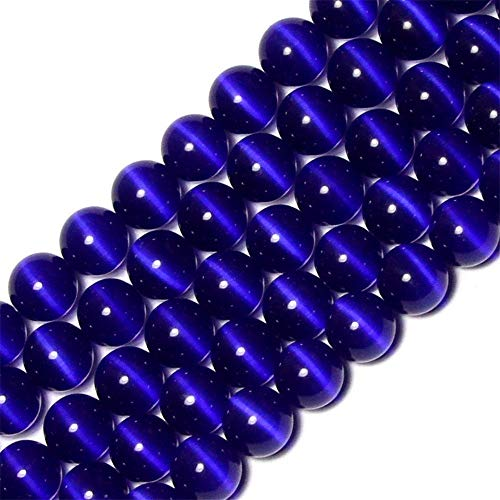 6mm Dark Blue Cat Eye Beads Round Semi Precious Gemstone Loose Beads for Jewelry Making (63-66pcs/strand)