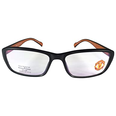 11e153fb6 Manchester United MUFC Full Rim Rectangular Unisex Spectacle Frames-Black  and brown  Amazon.in  Clothing   Accessories