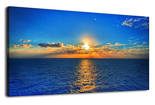 arteWOODS Large Canvas Wall Art Ocean Sunset Blue Sky Long Wall Art Pictures Ocean Waves Canvas Artwork Panoramic Painting for Home Decoration Framed Ready to Hang 24