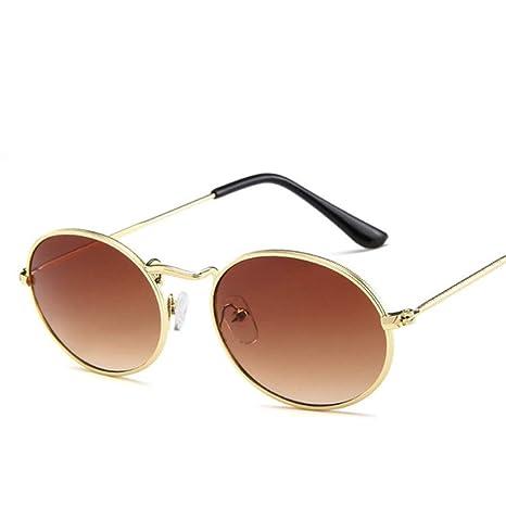 Yangjing-hl Pequeñas Gafas de Sol ovaladas con Espejo para ...