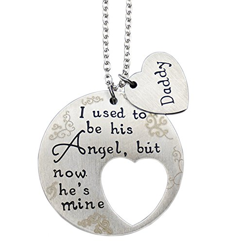 O.RIYA Memorial Necklace I Used to Be His Angel Now He's Mine Necklace Daddy, Daddy's Girl Heart Charm ,in Memory of Loved One Dad -