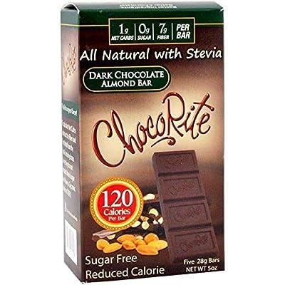 ChocoRite - High Protein Diet Bar | Dark Chocolate Almond | Low Calorie, Low Fat, Sugar Free, Cholesterol Free (5/Box)