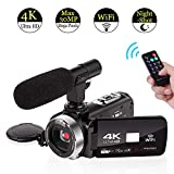 4K Camcorder Video Camera WiFi Camcorders with Microphone Digital Camera Full HD 30.0MP