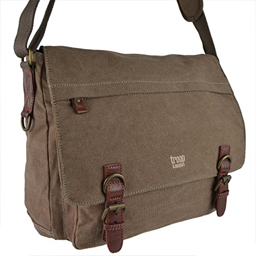 Laptop Messenger Body Large Ladies BAG Mens LEATHER Brown Compatible CANVAS Cross Troop by London Brown YqPnUwI