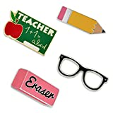 PinMart School Rules Pencil Eraser Glasses Teacher Enamel Lapel Pin Set
