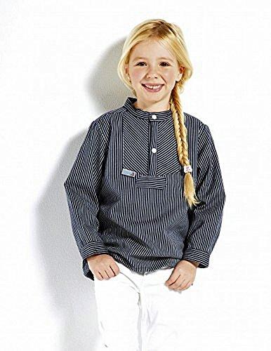 Fischerhemd Basic schmal gestreift Kinder, Kinder, 152