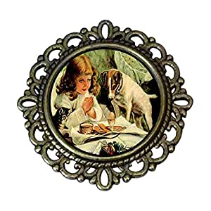 Chicforest Ancient Style Girl And Puppy Flower Pin Brooch