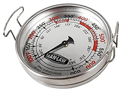 Man Law BBQ Products MAN-T752A Mechanical Gauge Series Grill Surface Thermometer, Large, Stainless Steel