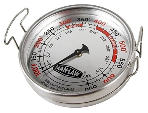 Man Law BBQ Products MAN-T752A Mechanical Gauge Series Grill Surface Thermometer, Large, Stainless - Thermometer Surface Grill