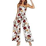 Floral Jumpsuit Romper for Women Off The Shoulder Sleeveless Wide Leg Pants Cutout Tie Back Side Split Jumpsuit Romper Size M(US 4) (White)