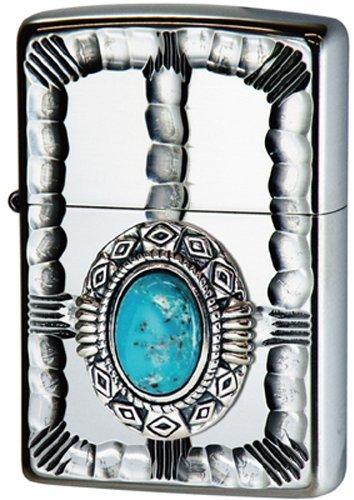 Zippo Double Hearts Lighter (Zippo Native Metal/NM2-TQ(Turquoise))