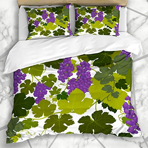 Ahawoso Duvet Cover Sets King 90x104 Valley Green Arbor Grape Vines Wine Country Airbrush Painting Alcohol Purple Bottle Cabernet Microfiber Bedding with 2 Pillow - Chardonnay Arbor
