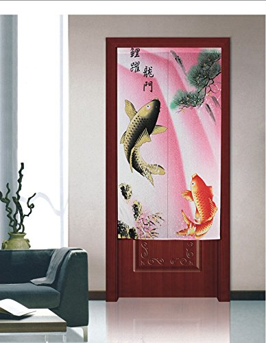 Traditional Chinese Style Double Leaping Fish Pattern Meaning of Success and Progress Door Curtain Japanese Noren Curtain Pink by LifEast