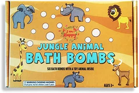 Kids Bath Bombs with Surprise Toys Inside - Safari Jungle Animals: Colored Bath Fizzies Made with Safe Ingredients for a Fun Bubble Bath Time. Great Educational Toys for Kids 3 years old and up