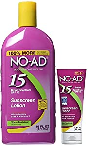 No-Ad Sunscreen Lotion SPF 15, 16 Ounce Bottle Bundled with 3 Ounce Tube