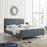 Great Deal Furniture | Baron | Mid Century Queen Platform Bed Frame | in Dark Grey