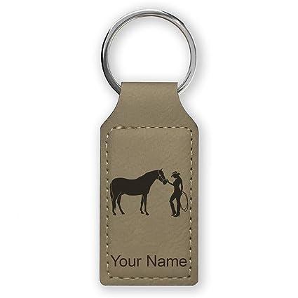 Llavero rectangular, diseño de caballo y vaquero, grabado ...