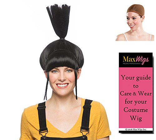Aggie Agnes Color Black - Enigma Wigs Cartoon Despicable Me Spiked Up Gru Daughter Bundle w/Cap, MaxWigs Costume Wig Care Guide]()