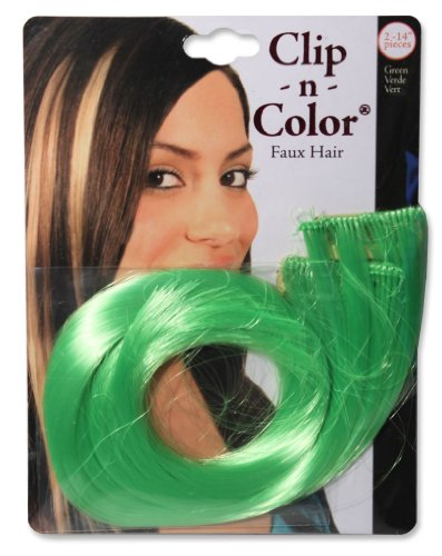 Mia Clip-n-Color-Instant Color, Hair Extensions That Clip On Quickly And Easily-Made Of Beautiful Synthetic Wig Hair-Pretty Electric Green Color-Measures 14 Inches Long-2 Clips-St. Patrick's - Macys St