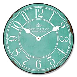 Aqua & White Wall Clock, Available in 8 Sizes, Most Sizes Ship The Next Business Day, Whisper Quiet.