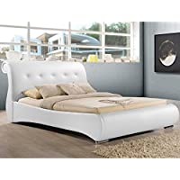 Baxton Studio Pergamena Leather Contemporary Bed, Queen, White