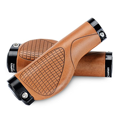 Champkey Ergonomics Comfort Design Bicycle Handlebar Grips 1 Pair Tacky Polyurethane Surface with Soft Material Cycling Grip (Brown)