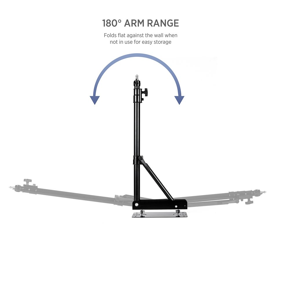 Fovitec - 1x Photography & Video Extending Wall Mounting Boom Arm - [Matte Black][Steel Construction][Heavy-Duty][Ergonomic Knobs][Bolts Included] by Fovitec (Image #4)
