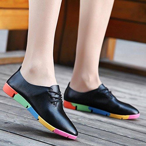 Mode up Lazzboy Schuhe Leder Flache Freizeitschuhe Lace Schwarz Sandalen Herbst Damen Spitze AwwBxpn8tT