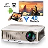 EUG LCD Smart Home Theater Projector with Wifi Support Full HD 1080P 720P Android Wireless Video Projectors for TV Smartphone Game Consoles Laptop DVD,with HDMI USB Ypbpr RCA Audio Speakers&Keystone