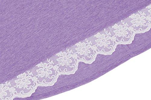 Estate Camicia Maniche Vestito Ginocchio al Corte T Line Autunno Top Shirt Viola con A Primavera Lunga Donna Maglia Casual x6dHIZq6