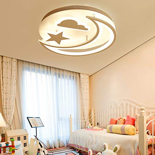 (Creative LED Flush Mount Ceiling Light, JIANGXIN Simple Modern Stars Moon LED Bedroom Ceiling Light Living Room Children's Room Ceiling Lamp (Color: Warm Light, Size: 40X40X10cm))