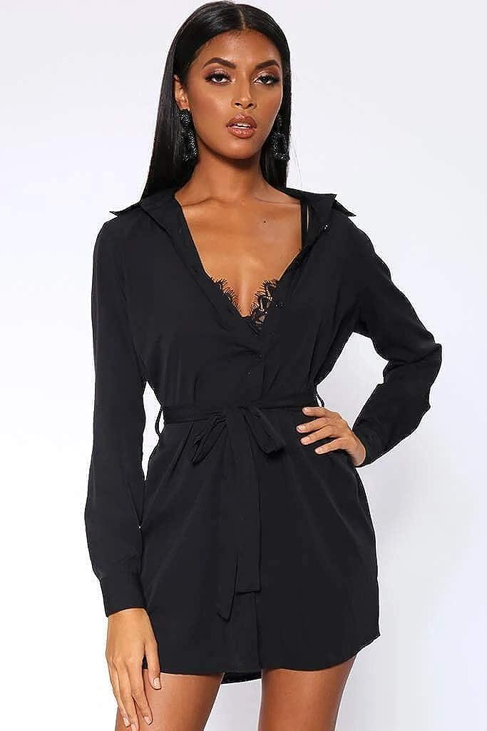 I Saw It First Vestido de Camisa con Corbata Negra para Mujer ...