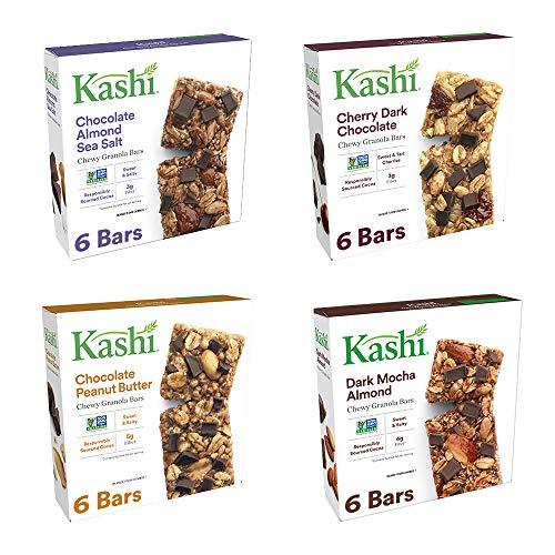 Kashi Chewy Granola Bars Variety Pack - Chocolate Almond Sea Salt | Cherry Dark Chocolate | Chocolate Peanut Butter | Dark Mocha Almond (Bar Dark Chocolate Mocha Almond)