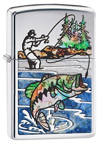 Zippo Custom Lighter: Fusion Bass Fishing - High Polish Chrome 78504