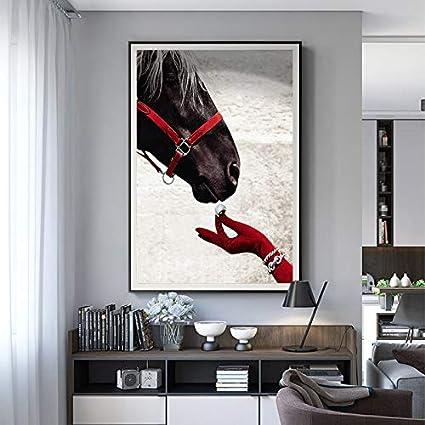 QWESFX Caballo Mano Minimalismo Galería Lienzo Pintura Cuadros Decorativos Modernos Arte de la Pared para la Sala Carteles e Impresiones Sin Marco (Imprimir sin Marco) D 60x90CM