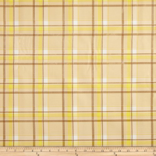 Oil Cloth International Oilcloth Scottish Plaid Yellow Fabric by The Yard, ()