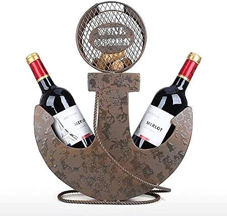 QIQIDIAN Estante para Vino, Ancla, Dos Botellas De Soporte para Vino, Adorno De Arte Vintage, Artesanía, Decoración De Hotel O Bar, Decoración De Escritorio De Cocina